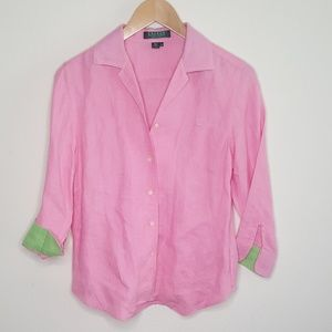 Ralph Lauren Pink Linen Button Down Blouse